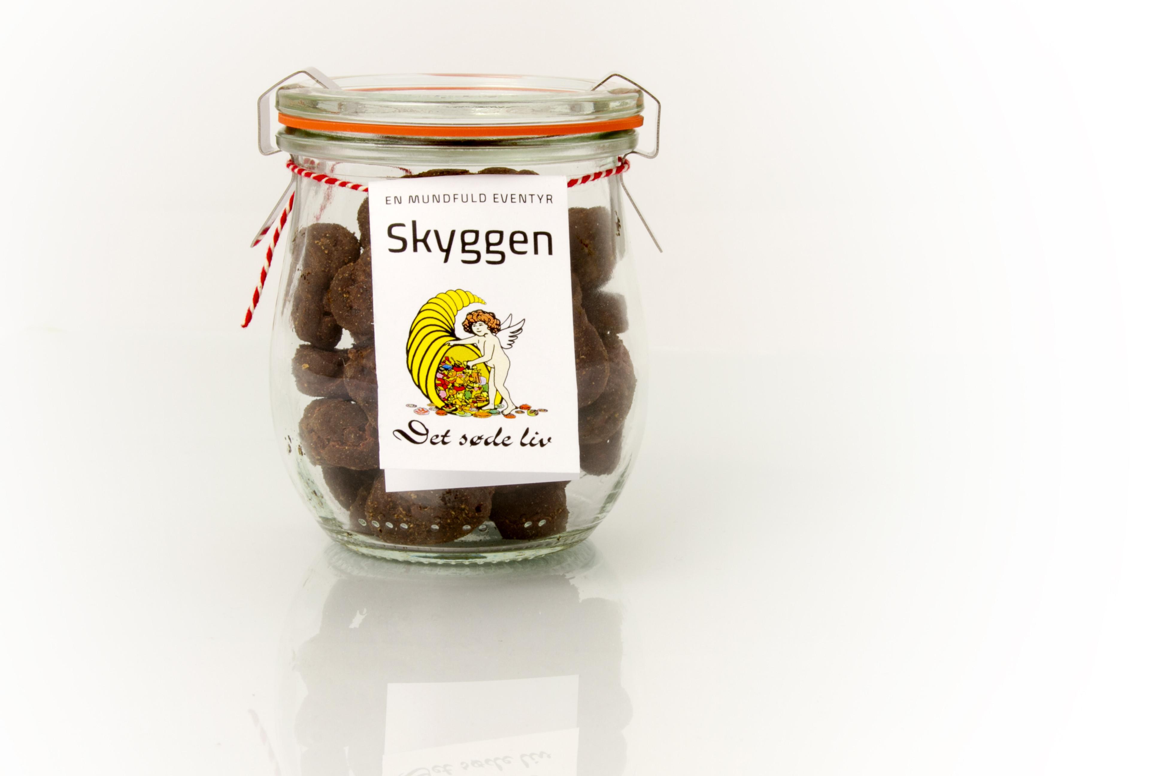 Skyggen - Lakrids, chokolade og lakridspulver i patentglas