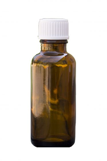 Brun glasflaske, 30 ml med låg